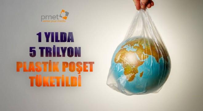 Bir yılda 5 trilyon plastik poşet tüketildi